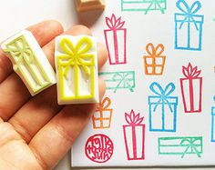 christmas ornament stamp set. hand carved rubber door talktothesun