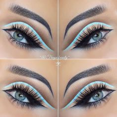 Cut crease with ice blue liner.