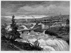 vintage spokane bridges | SPOKANE FALLS WASHINGTON TERRITORY, BEFORE GREAT FIRE | eBay