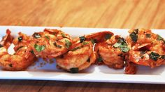 Spicy Garlic Sriracha Shrimp, easy recipe, made with fresh mint, basil, lemon zest and lots of spicy Sriracha sauce