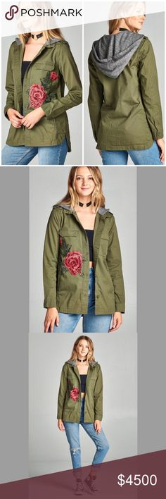Army Green Utility Hoodie Jacket with Flower PREORDER Ships Wednesday ❣️Army Green Utility Hoodie Jacket with Embroidered Flower. Color is slightly darker. No Trades. Price is Firm Unless Bundled. GlamVault Jackets & Coats