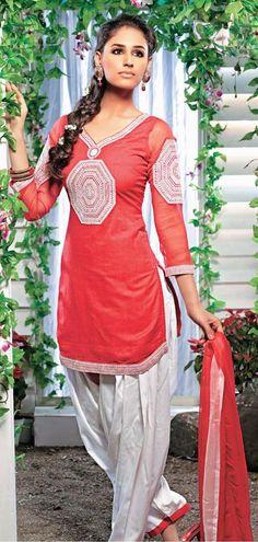 $58.38 Red Embroidered Panjabi Salwar Suit 22410