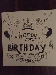 Cute Birthday Gift, Birthday Cards For Mom, Bday Cards, Birthday Gifts For Best Friend, Funny Birthday Cards, Diy Birthday, Happy Birthday Drawings, Birthday Doodle, Birthday Card Drawing