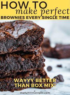 Homemade Fudge Brownies, How To Make Brownies, Chewy Brownies, Best Brownies, Fun Baking Recipes, Best Dessert Recipes, Candy Recipes, Fun Desserts, Appetizer Recipes