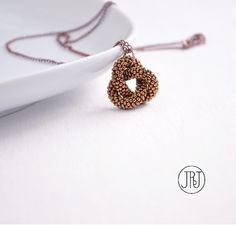 Gordian Knot Necklace, Minimalist Bronze Knot Pendant, Minimal Beaded Necklace, Modern Knotted Necklace, Endless Knot, Infinity Necklace