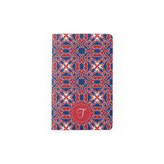 Monogrammed ancestral creatures blue red pattern pocket moleskine notebook