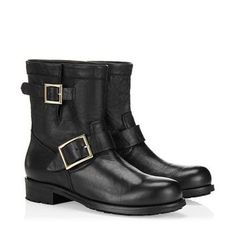 Black Suede Boots with Brown Shearling | Designer Biker Boots | JIMMY CHOO Boots