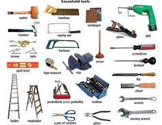 Tools and Equipment Vocabulary: Items Illustrated - ESLBuzz Learning English English Tips, English Words, English Lessons, Learn English, English Language, English Grammar, Essential Woodworking Tools, Best Woodworking Tools, Popular Woodworking