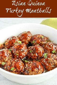 Asian Quinoa Turkey Meatballs are hearty, healthy, and delicious. Quinoa and ground turkey combine for mouthwatering meatballs, baked to perfection. Pair the meatballs with an Asian-style sauce for a wonderful finish #meatballs #turkeymeatballs #quinoaturkeymeatballs #groundturkey #quinoa
