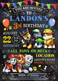 Paw patrol Invitation Paw Patrol Birthday Invitation