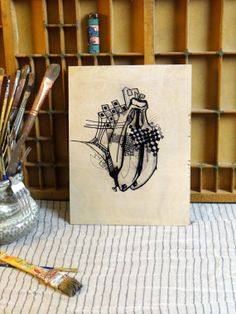 Wood Print  THREE SILLY BANANAS  Original Drawing by ETsARTs, $28.00