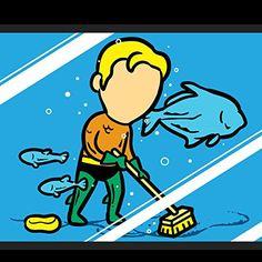 'Part-Time JOB Aquarium' Funny Parody Super Hero Cleaning Fish Tank 18x18 - Vinyl Print Poster