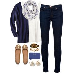 Ootd by classicallypreppyy on Polyvore featuring H&M, J Brand, Tory Burch, Kate Spade, Michael Kors, J.Crew and Leith