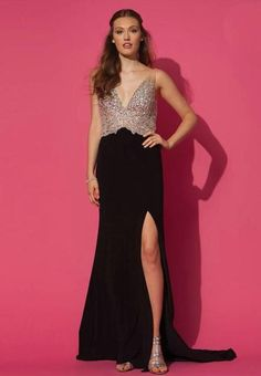 Beaded Sequins Deep V Neck Long Gown | Furrple