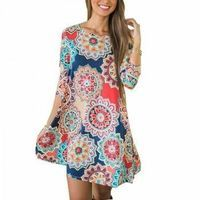 Gorgeous Floral Pattern Short-sleeve Dress for Women #boho