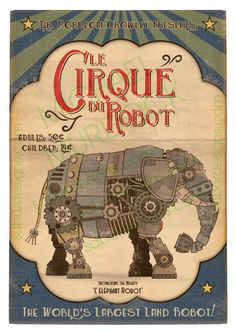 3 Pack Retro Robot Circus Prints Large 11x14 by Opafaf on Etsy