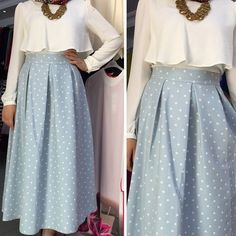 polka dots baby blue skirt