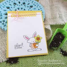 Clean and Simple Bunny Card by Jennifer Jackson | Garden Whimsy Stamp set by Newton's Nook Designs