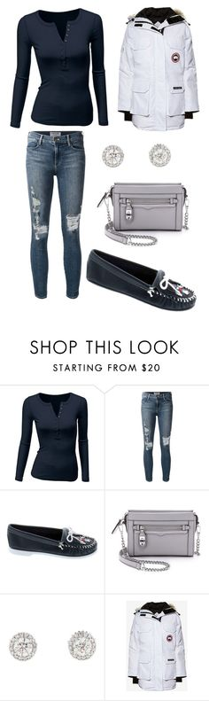 """""""So Cold"""" by steffyohhh ❤ liked on Polyvore featuring Doublju, Frame Denim, Minnetonka, Rebecca Minkoff, Canada Goose, women's clothing, women, female, woman and misses"""