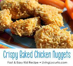 Crispy Baked Chicken Nuggets at LivingLocurto.com #recipe #kids