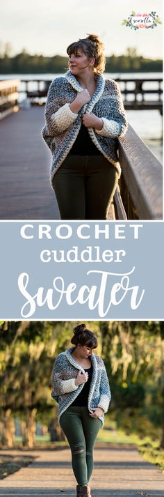 Crochet this easy beginner cuddler cocoon sweater cardigan with just half double crochet! Free pattern and video tutorial