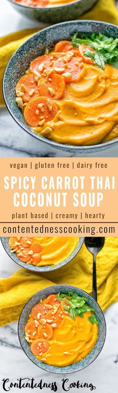 Packed with incredible flavors! This Spicy Carrot Thai Coconut Soup is so satisfying, entirely vegan and gluten free. Super easy to make with glow food ingredients.