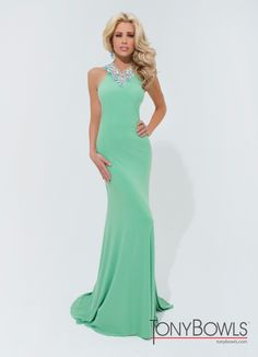 Tony Bowls 2014 Green Halter Racerback Beaded Fitted Prom Gown 114715 | Promgirl.net