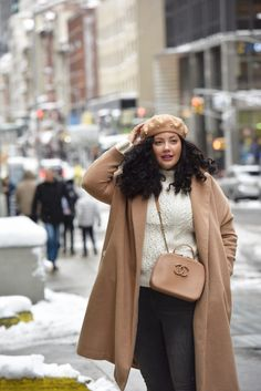 Girl with Curves featuring a pearl beret from nordstorm, camel coat from Asos, cream sweater from Asos, lipstick from sephora, and handbag from chanel