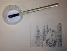 painting gel medium on the drawing
