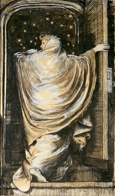 Frederick Walker, The woman in white, 1871, gouache on paper. [[MORE]]This life-sized poster is one of the first examples of a fine artist undertaking an advertisement. It was made for Wilkie Collins's 'sensation' play The Woman in White, which...