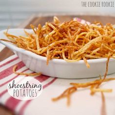 Shoestring Potatoes, AKA Shoestring Fries, are a delicious and versatile side dish perfect for any and every meal! Julienne Fries are the best! Potato Recipes, Vegan Recipes, Cooking Recipes, Garlic Parmesan Fries, Sliced Potatoes, Food 52, Macaroni And Cheese, Side Dishes, Healthy Recipes