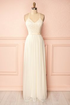 Calybrid - Ivory veil and sequins maxi dress