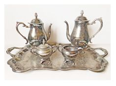 Vintage FB Rogers Silver Plate Complete Tea Set with Tea Pot Coffee Pot Creamer Sugar Bowl and Engraved Serving Tray, Tea Service, 5 Pieces by LavishMaidenVintage on Etsy