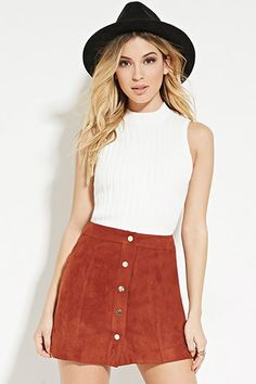 faux suede buttoned mini skirt + sleeveless tank + wool hat