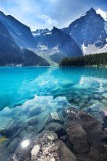 Lake Moraine, Banff National Park Emerald Water Landscape, Alberta, Canada stock photo