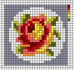 Miniature rose cross stitch chart / cross stitch pattern - but may also be used for: crochet, knitting motifs, knotting, loom beading, Perler beading, weaving and tapestry design, pixel art, micro macrame, friendship bracelets, and anything involving the