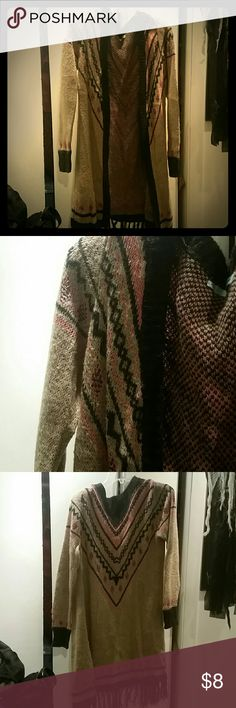 Maurices Long Cardigan Brown pink and black cardigan sweater, worn only a few times. Size L. Maurices Sweaters