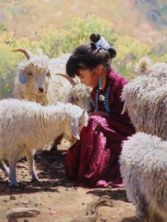 Navajo girl with sheep.