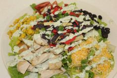 Ashley Mac's Spring Special! Southwest Grilled Chicken Salad with Cilantro Lime dressing! www.ashleymacs.com Grilled Chicken Salad, Lime Dressing, Cilantro, Cobb Salad, Yum Yum, Delish, Grilling, Salads, Mac