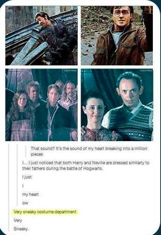 Costumes Harry Potter Harry and Neville are dressed similarly to their fathers during the Battle of Hogwarts.my heart! Harry Potter Love, Harry Potter Universal, Harry Potter Fandom, Harry Potter Memes, Potter Facts, James Potter, Harry Potter Books, Hogwarts, Drarry