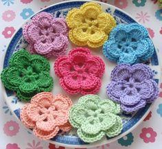8 Crochet Flowers In Lomen Lt Purple Green Pink Lt ♥ by YHcrochet, $5.60