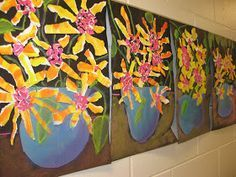 2nd grade artists studied the art of Vincent Van Gogh . They noticed the unique brushstrokes that he used and how these brushstrokes did no...