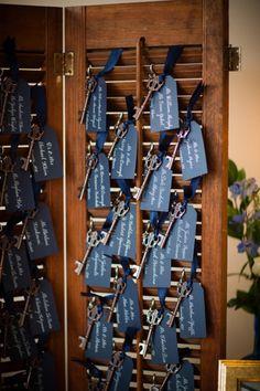 Key place cards: http://www.stylemepretty.com/pennsylvania-weddings/philadelphia/2015/01/06/vintage-chic-philadelphia-fall-wedding/   Photography: Asya - http://asyaphotography.com/