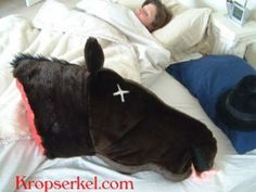 """Revenge is a dish best served stuffed"" – The bloody horse head pillow.  Everything on this website is awesome!"