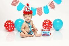 Baby Boy/ Toddler First Birthday Outfit for Cake Smash in Dr. Seuss Cat in the…