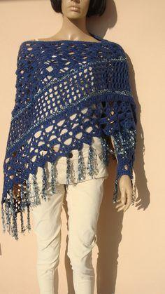blue crochet winter shawl handmade triangle blue by UniqueKnitArt