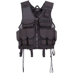 Voodoo Tactical SSV Tact Vest, Black, ($64) ❤ liked on Polyvore featuring outerwear, vests, tops and vest waistcoat