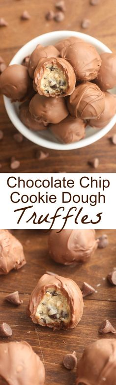 Chocolate Chip Cookie Dough Truffles - A simple egg-free cookie dough dipped in melted chocolate! These bite-size treats are easy and delicious! | Tastes Better From Scratch