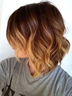 Ombre and beach waves for short hair.  Color, cut, style... Perfect.
