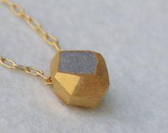 Gold Nugget Necklace, Gold Concrete Necklace, Large Nugget Necklace